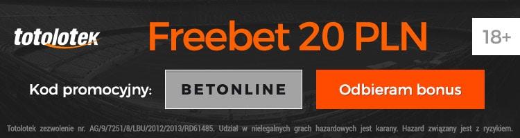 """Totolotek kod promocyjny. """"BETONLINE"""" - bonus bez depozytu 20 PLN"""