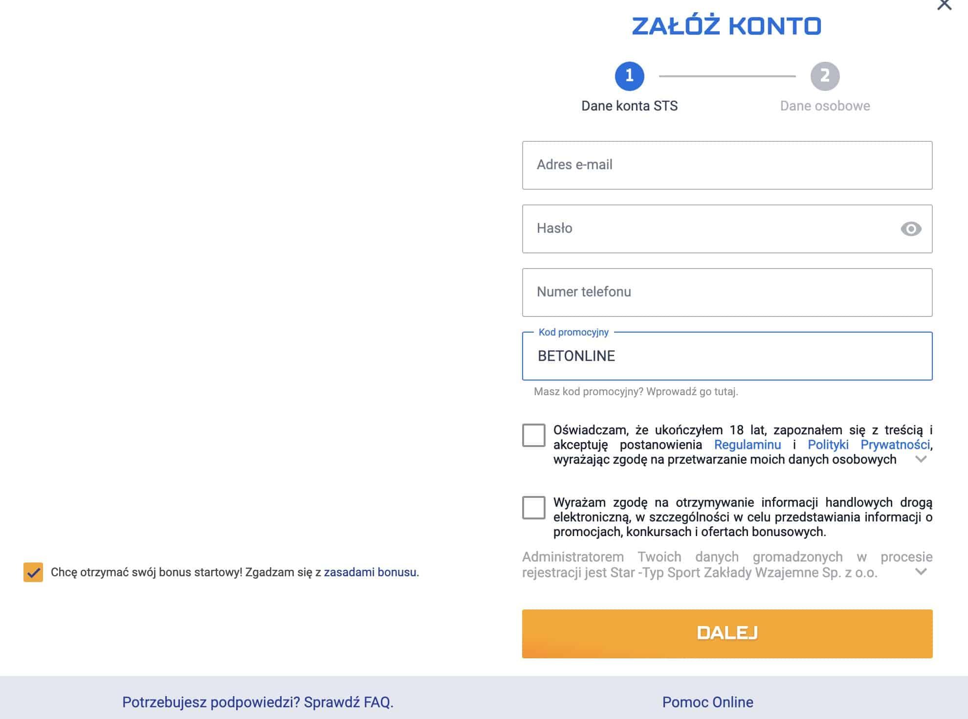 STS bonus bez depozytu. 29 PLN z kodem promocyjnym!