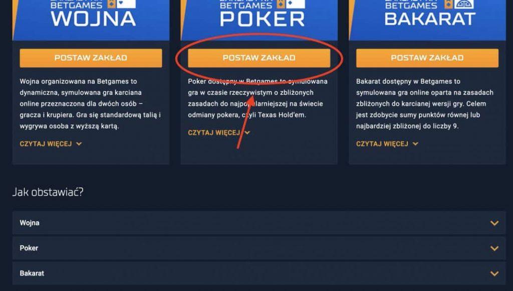 STS granie w pokera online. Krok 2