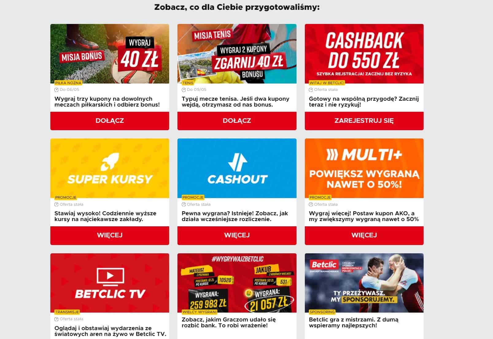 Betclic bonus powitalny 550 PLN. Cashback ze specjalnym kodem promocyjnym!