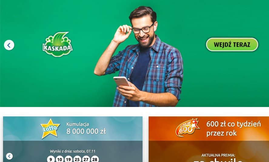 Kaskada - jedna z gier dostępnych w Lotto online
